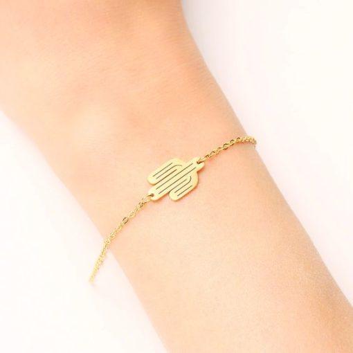 bracelet cactus dore