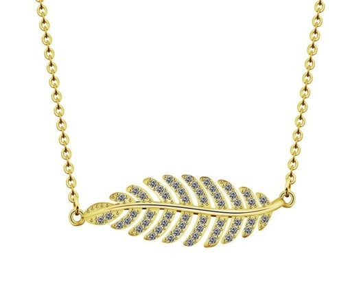 collier femme pendentif feuille