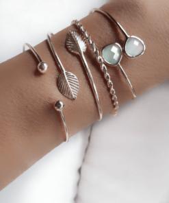 bracelet jonc feuille