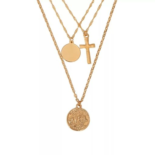 collier fantaisie avec medailles