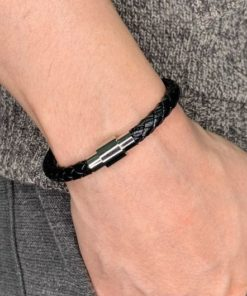 bracelet cuir homme argente