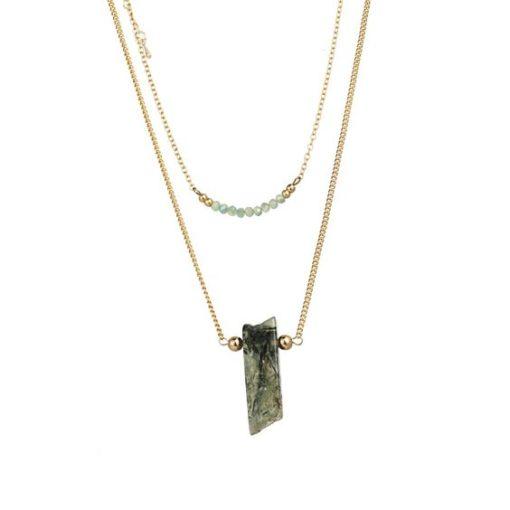 Collier pendentif vert