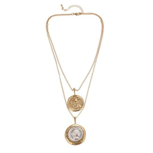 collier double medailles femme