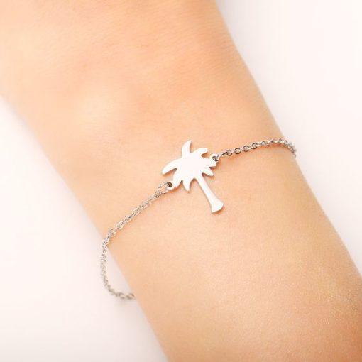 bracelet palmier argente