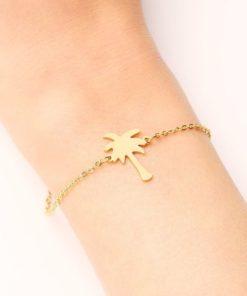 bracelet palmier dore