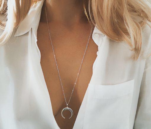 collier pendentif corne argente