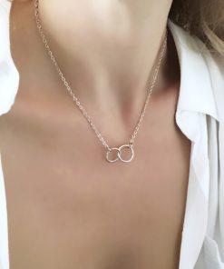 collier anneaux argente