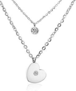 collier pendentif coeur argente