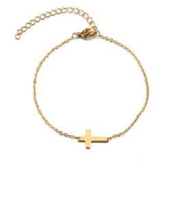 bracelet croix acier inoxydable