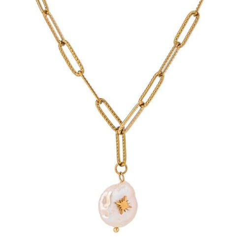 Collier maillons pendentif perle