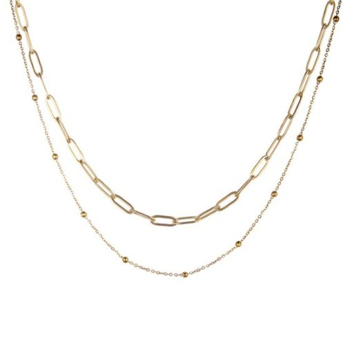 collier grosse maille or