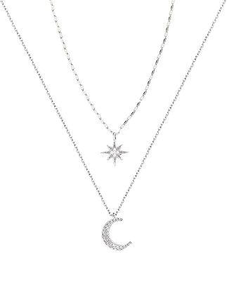 collier lune etoile argent 925