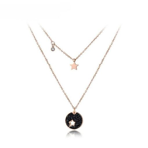 collier double rang medaille pour femme