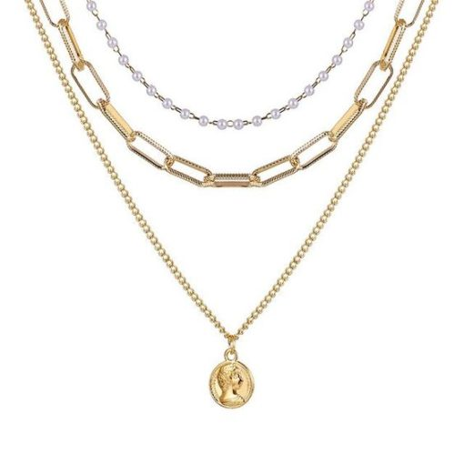 collier grosse maille plaque o
