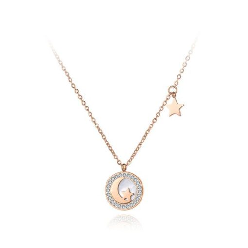 collier medaille lune femme