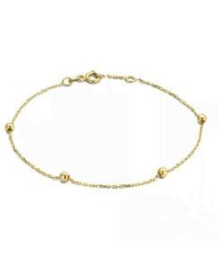 bracelet chaine perlee or