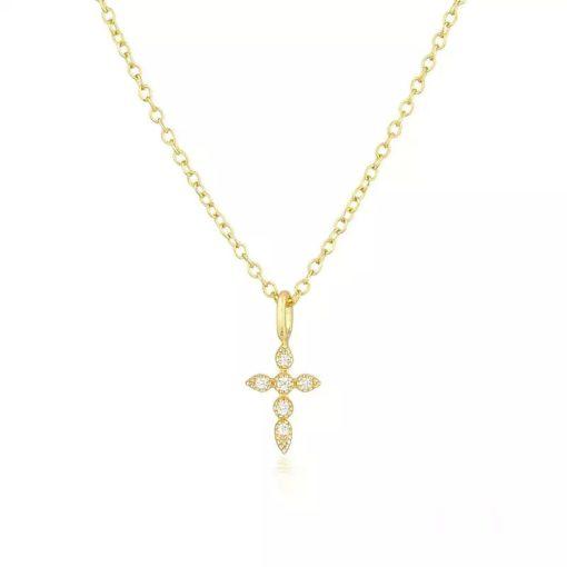 collier pendentif croix plaque or
