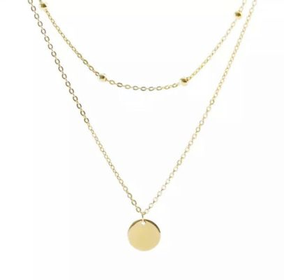 collier double rang medaille plaque or