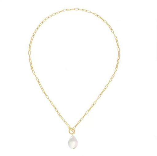 collier perle original plaque or